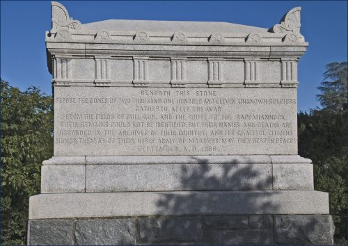 Near Arlington House, in what was once part of its famous rose garden, stands a monument dedicated to the unknown soldiers who died in the Civil War. This monument was the first memorial at Arlington to be dedicated to soldiers who had died in battle, and who later could not be identified.
