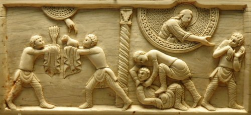 Cain and Abel, ivory panel from the cathedral of Salerno, ca. 1084. Image source: https://commons.wikimedia.org/wiki/File:Ivory_Cain_Abel_Louvre_AO4052.jpg