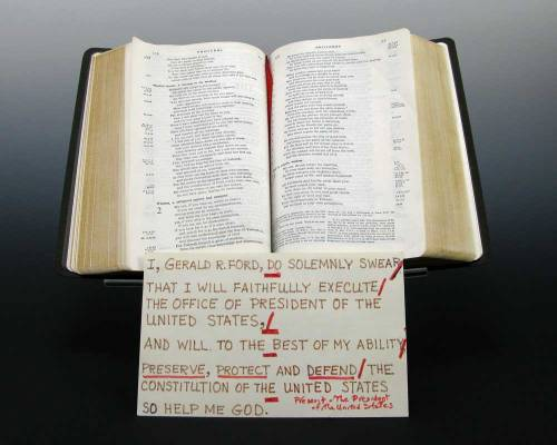 Bible and Cue Card Used by Gerald R. Ford When He Took the Oath of Office