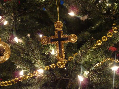 Cross Christmas Ornament on tree