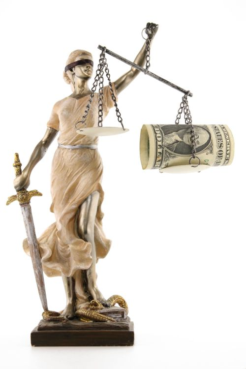 12172967 - justice (greek:themis,latin:justitia) blindfolded with scales, sword and money on one scale. corruption and bribing concept