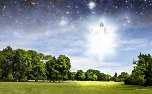 10800577 - second coming of jesus over a summer park